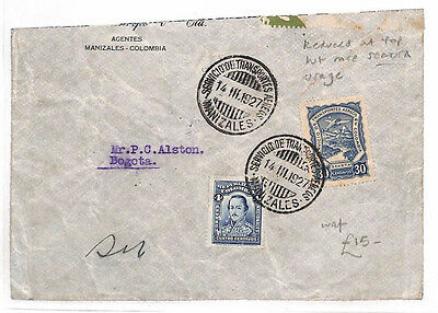 AR28 1927 COLOMBIA Airmail SCADTA Manizales Reduced Cover Bogota