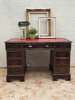Re-production red leather inlay twin pedestal desk.