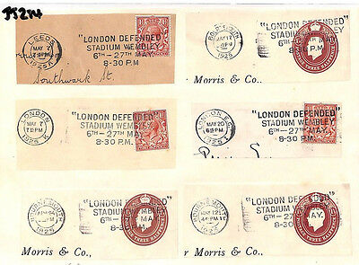 JJ284 1925 GB SLOGANS *London Defended* Wembley Exhibition Postmark Pieces {x6}
