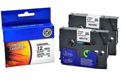 2x Tze-231 Label Tape TZE231 (12mm x 8m) compatible for Brother P-touch