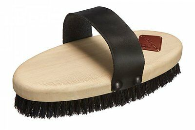 LeMieux OVAL STRIPED BODY BRUSH Horse Pony Grooming Leather Strap