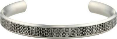 Ti2 Titanium 8mm Wide Shamfered Triline Bangle - Silver