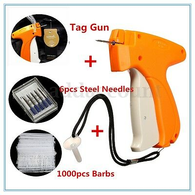 Clothes Garment Price Label Tagging Tags Gun Machine + 1000 Barbs + 6 Needles