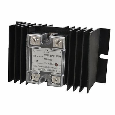 lyhpcom 25A AC-AC Solid State Relay SSR AC 90-280V to 24-480V + Heat Sink CX