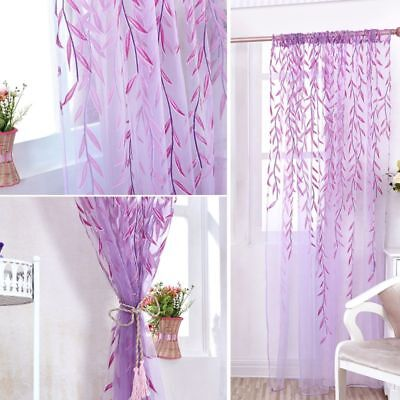 Home Room Willow-Pattern Voile Window Curtain Sheer Panel Drapes Scarfs Curtain
