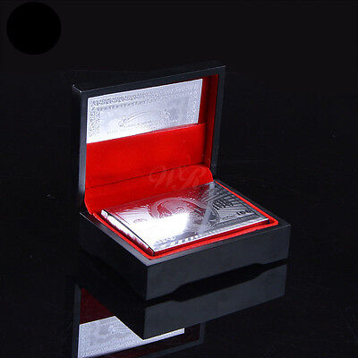 Silver Plated PLAYING CARDS $100 Dollar Bill Plastic Poker Luxury Black Gift Box