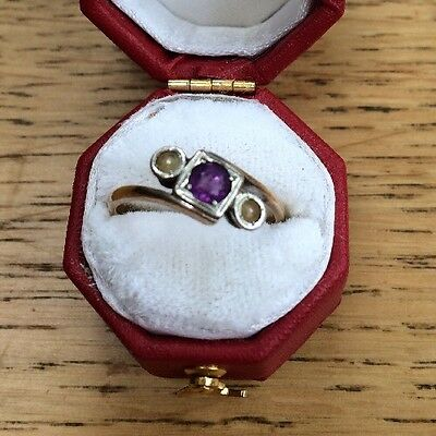 Vintage 9CT Gold Ring Amethyst and Pearls