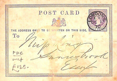 MS2126* 1870 GB EARLY QV FDC First Issue GPO Postal Stationery ½d Card *OC 1/70*