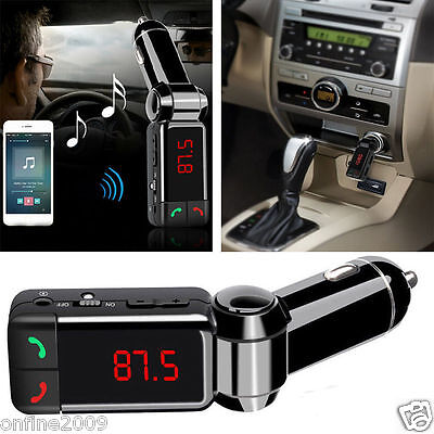 Car Kit Dual CAB Charger Wireless Bluetooth Handsfree FM Transmitter Stereo MP3