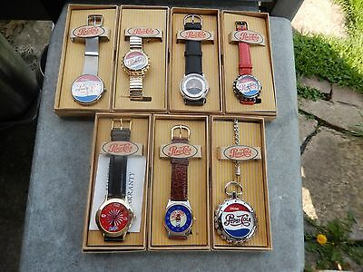 Vintage Lot Of 7 New Pepsi Cola Watches Need Battery