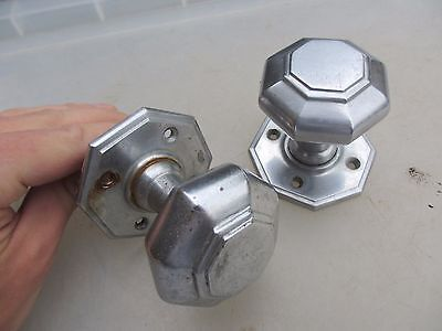 Vintage Door Knobs Handles Architectural Victorian Style Old Nickel Plated Brass