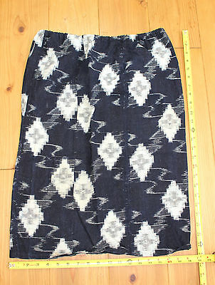 Vintage Japanese worn out Indigo Cotton Kasuri Ikat Woven Fabric Skirt