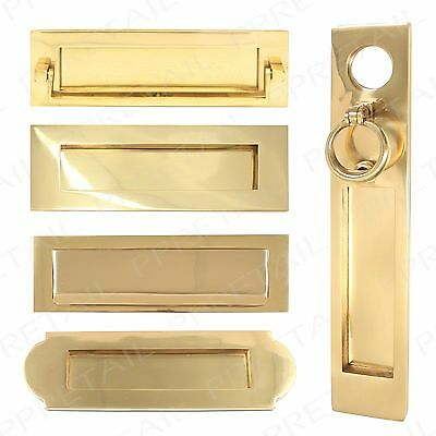 Polished Brass VICTORIAN LETTERBOX RANGE Letter Box Plate Flap Heavy Sprung