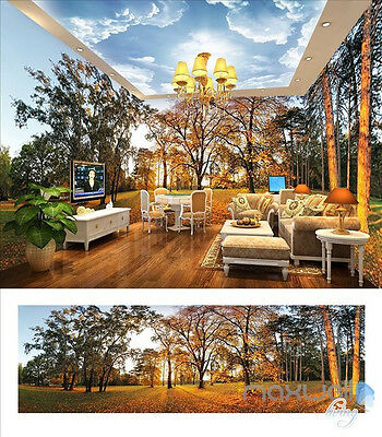 Park woods Forest Sunset theme entire room 3D wallpaper wall mural decals