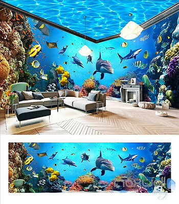 Underwater world aquarium fish coral entire room 3D wallpaper wall mural decals