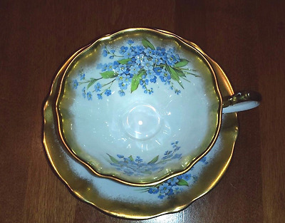 Queen Anne bone china tea cup and saucer forget me nots