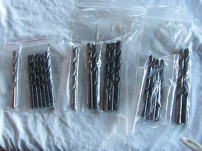 """Misc. drill bits 19 asst. med. size high speed 1/2"""" - 23/64"""" metal or wood"""