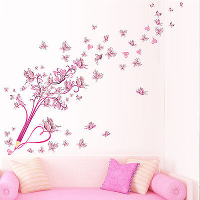 Pink Butterfly Wall Stickers DIY Eiffel Tower Decal Vinyl Art Bedroom Home Decor