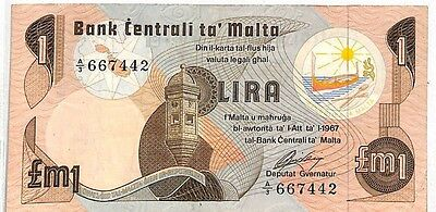 LL257 Central Bank of Malta £1 Note {samwells-covers}