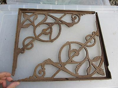 Antique Cast Iron Shelve Holder Brackets Shelf Shelving Vintage Old Gilt Leaf