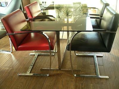 1970s CHROME AND SMOKED GLASS PIEFF DINING TABLE DESIGN CLASSIC
