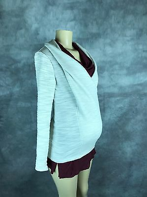 Women Maternity 2 piece Bundle Sz S Sweatshirt Zip Up Cowl Neck T-shirt Maroon