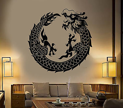 Vinyl Wall Decal Asian Chinese Dragon Circle Fantasy Japanese Stickers (1279ig)