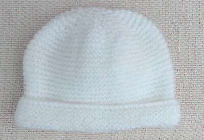 New Hand Knitted Hat for a Newborn Baby in White