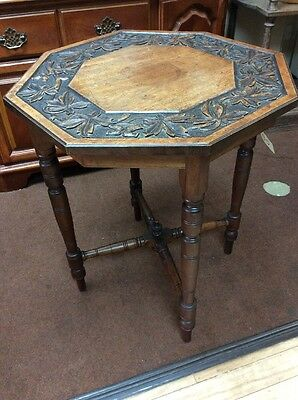 Octagonal Carved Top Vintage Antique Side / Occasional Table