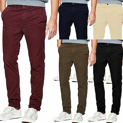 Mens Chino Trousers Slim Fit Casual Cotton Pants Designer Stallion Jeans New All