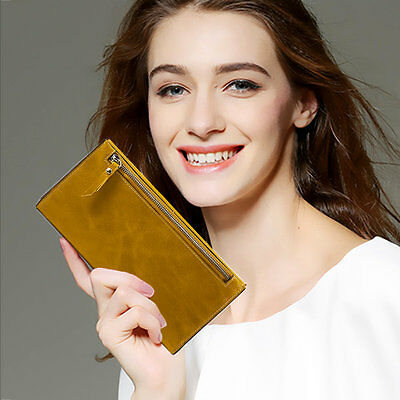 Women Leather Handbag Coin Card Cash Receipt Holder Long Folding Wallet LOT GT