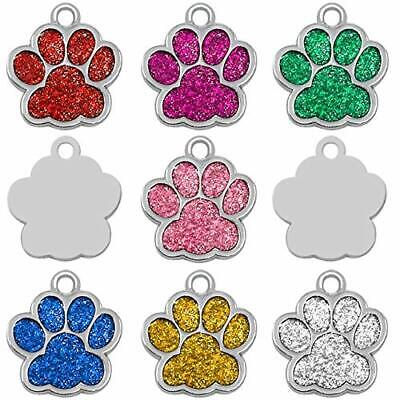 Personalised Glitter Paw Dog Pet ID Tag Disc Blue Silver Engraved UK Delivery