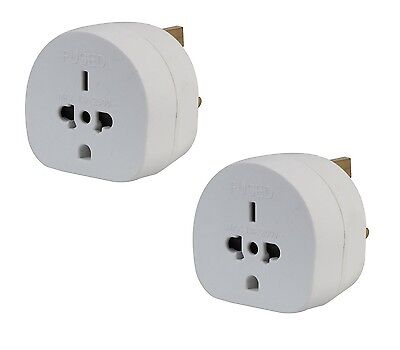 2x Pack of All Continents Worldwide to UK Travel Plug Power Mains Adaptor White