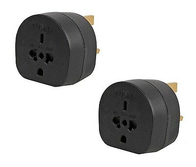 2x Pack of All Continents Worldwide to UK Travel Plug Power Mains Adaptor Black