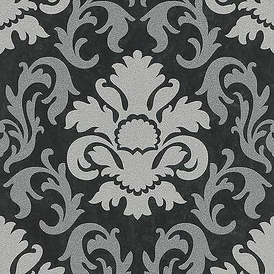 P&s Carat Damask Glitter Wallpaper - Silver And Black - 13343-40 Wall Decor New