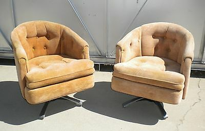 Pair Vintage Barrel Back Swivel Rocking Chairs Mid Century Modern