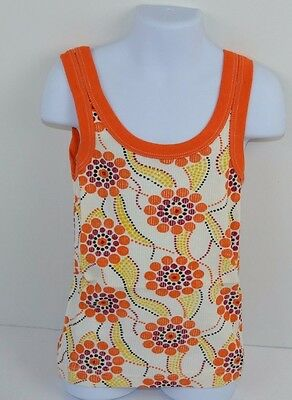 Vtg 70's Girls Whimsical Dots TANK TOP Orange Size 7 by TWIN TOGS - NOS