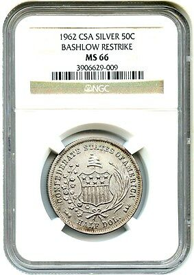 1962 Bashlow Restrike of the 1861 Confederate 50c NGC MS66 (Silver)