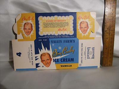 Vintage Bing Crosby Valley Farms Ice Cream. Copyright 1953. New old stock.1 pint