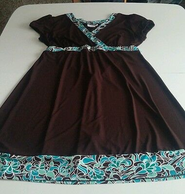 Motherhood Maternity Dress Size Large Short Sleeve Back Ties Brown
