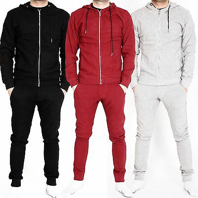 New Mens Slim Fit Pique Tracksuit Set Zip Top Bottoms Gym Jogging