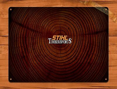 "TIN SIGN ""Stihl Timbersports"" Vintage Chainsaw Rustic Wall Decor"