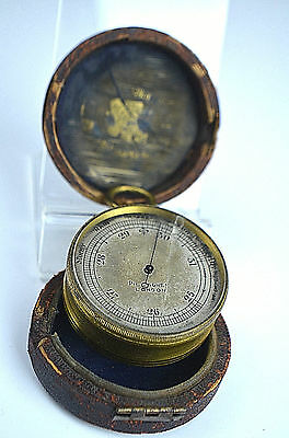 Antique Pillisher London Victorian Pocket Barometer Leather Box Gilt Case