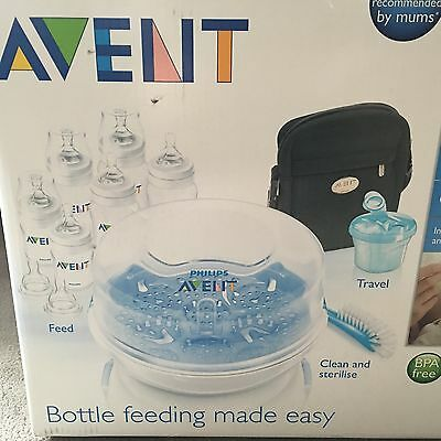 New Philips Avent Bottle Feeding Essentials Set Steriliser Milk Pot + 6 Bottles!