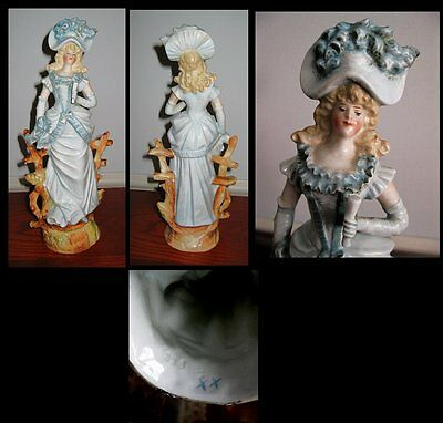 Antique Fine Porcelain Victorian Hand Painted Woman in Blue Figurine