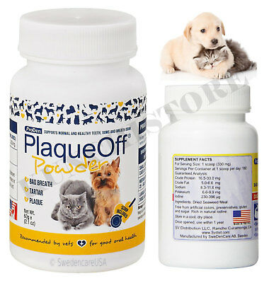 Plaque Off Powder for Dogs and Cats Bad Breath Tooth Tartar&Plaque Removal 60g