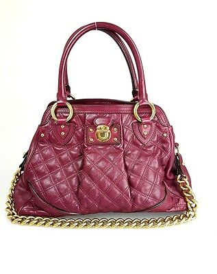 Marc Jacobs Alyona Berry Quilted Leather Satchel Tote Bag Handbag Purse
