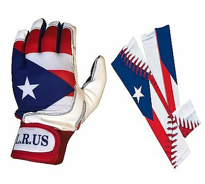 Puerto Rico Flag Batting Gloves and Sleeves combo