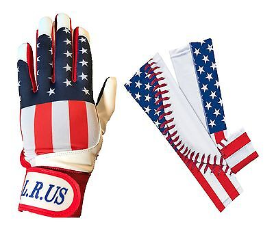 USA Flag Batting Gloves and Sleeves combo