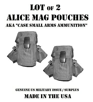 Lot Of 2 Us Military Army Usmc Surplus Ammo Lc1 Alice Mag Pouch Case Small Arms
